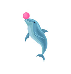cute blue dolphin playing with ball at vector image