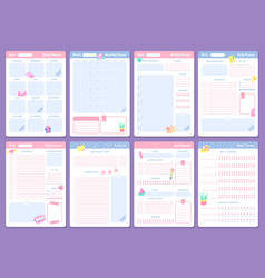 cute planner templates weekly monthly and yearly vector image