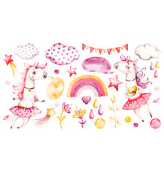 Cute unicorn bagirl watercolor nursery vector