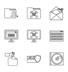 Ddos attack icons set outline style vector