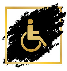 Disabled sign golden icon at vector