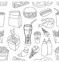 Doodle pattern fast food vector image