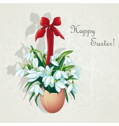 easter card for day with snowdrops vector image