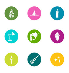 Excursion icons set flat style vector