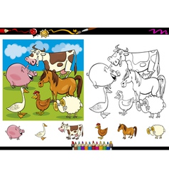 Farm animals coloring page set vector