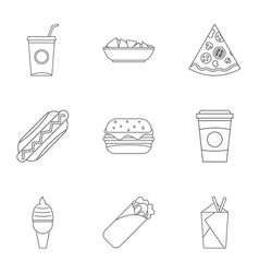 fast food icon set outline style vector image