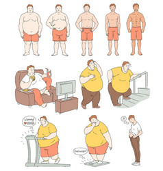 fat person weight loss comparison drawing vector image