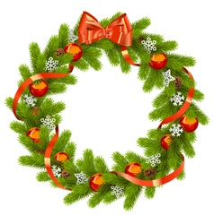 Fir Wreath with Red Decorations vector image