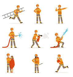 Firefighters in orange uniform doing their job set vector