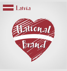 flag heart of latvia national brand vector image