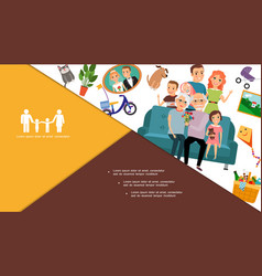 flat big happy family composition vector image