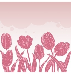 Floral card with tulips on pink background vector image