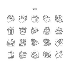 food well-crafted pixel perfect thin line vector image