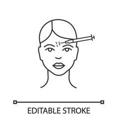Forehead neurotoxin injection linear icon vector