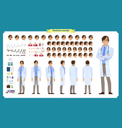 Front side back view animated character doctor vector