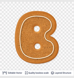 gingerbread letter b symbol with drop shadow vector image