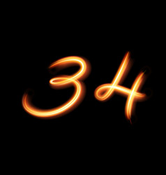 Glowing light number three and four hand lighting vector