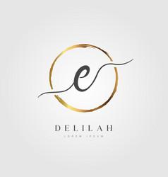 Gold elegant initial letter type e vector