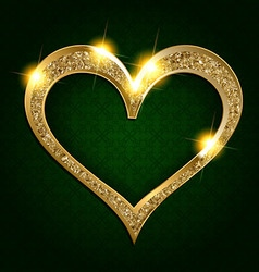 Gold frame heart on a dark background vector