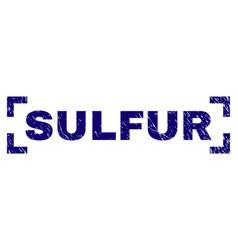 Grunge textured sulfur stamp seal between corners vector