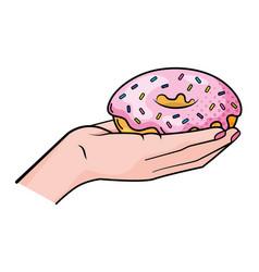Hand holding donut vector