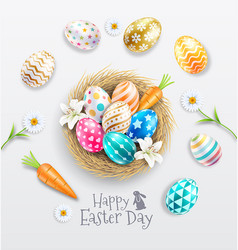 happy easter day easter eggs colorful different vector image