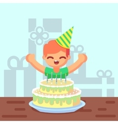 Happy sweet cute cartoon boy with birthday cake vector