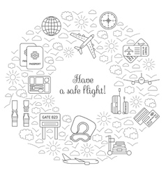 Have a safe flight card for airplane travel vector image