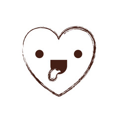 heart kawaii in funny expression in brown blurred vector image