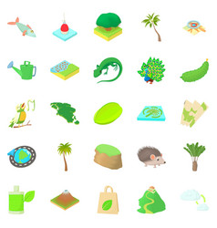 Hiking trails icons set cartoon style vector