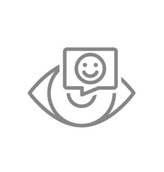 human eye with happy face in chat bubble line icon vector image