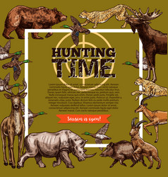 Hunt club hunting open season sketch poster vector