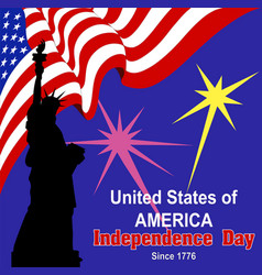 Independence day america banner flag statue vector