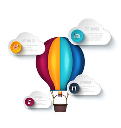 Infographic template with air balloon vector
