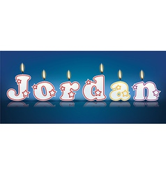 JORDAN written with burning candles vector