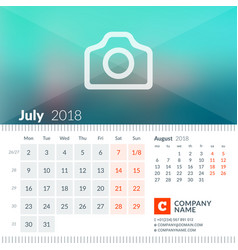 July 2018 calendar for 2018 year week starts on vector