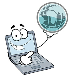 Laptop Guy Holding a Globe vector image