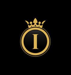 letter i royal crown luxury logo design vector image