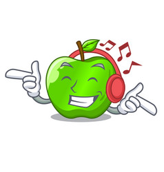 listening music perfect fresh green apple on vector image