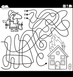 Maze with cartoon firefighter and fire coloring vector