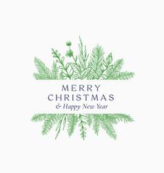 Merry christmas abstract botanical logo or card vector