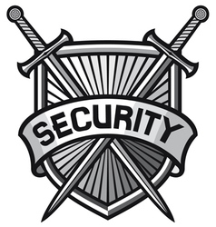 metallic security shield -securite sign vector image