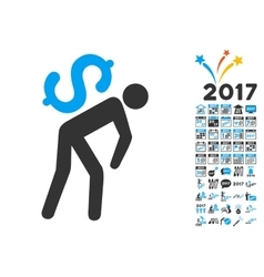 Money Courier Icon With 2017 Year Bonus Symbols vector