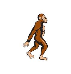 Neanderthal Man Walking Side Cartoon vector image