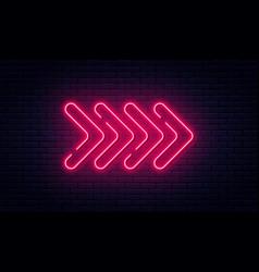 Neon arrow sign glowing neon arrow pointer on vector