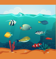 Ocean colourful fishes with corals at bottom vector