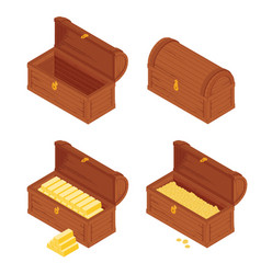Old wooden chest with gold bars isolated on white vector