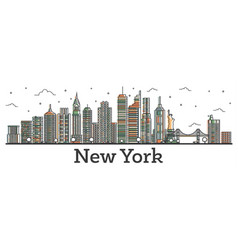 Outline new york usa city skyline with color vector