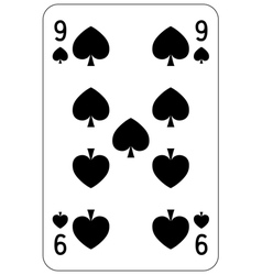Poker playing card 9 spade vector