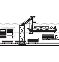 Port cargo terminal vector image
